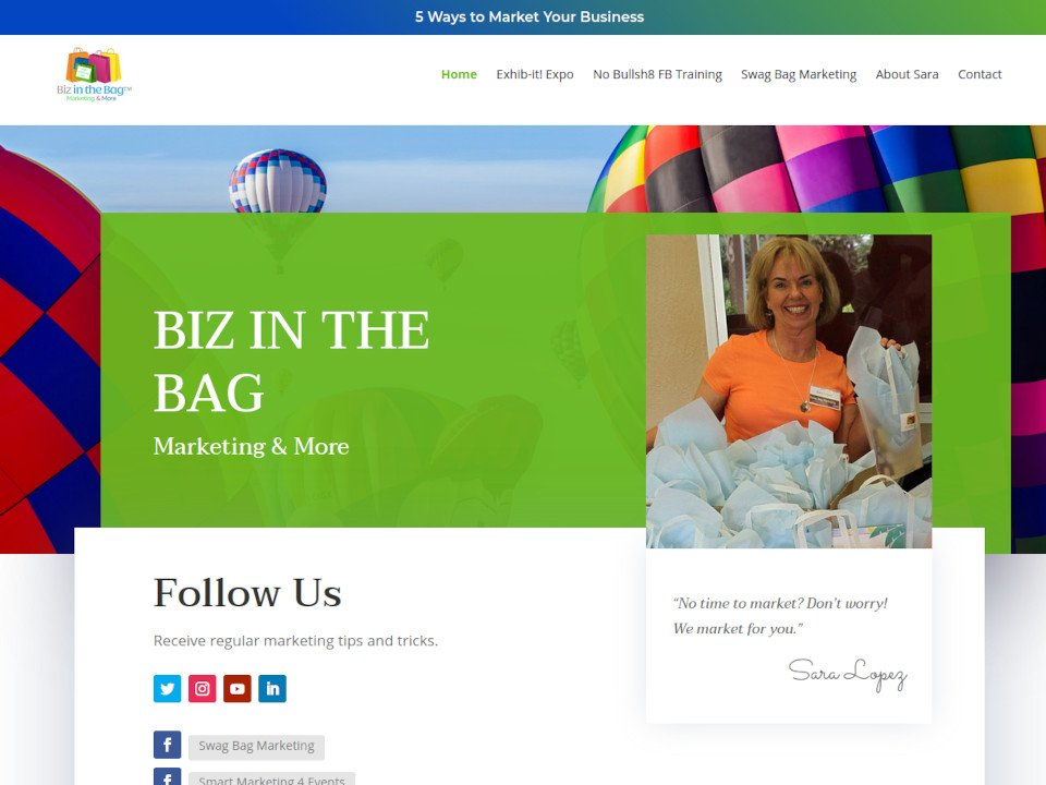 Biz In The Bag SWAG Bag Advertising 2020